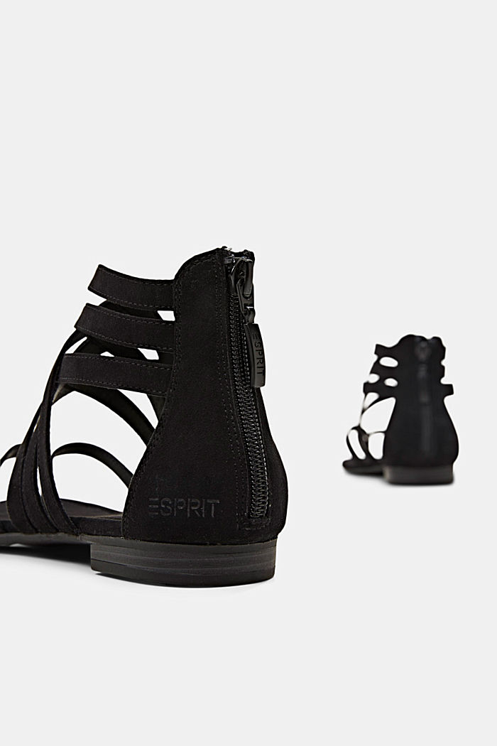 Strappy sandals made of faux suede, BLACK, detail image number 5