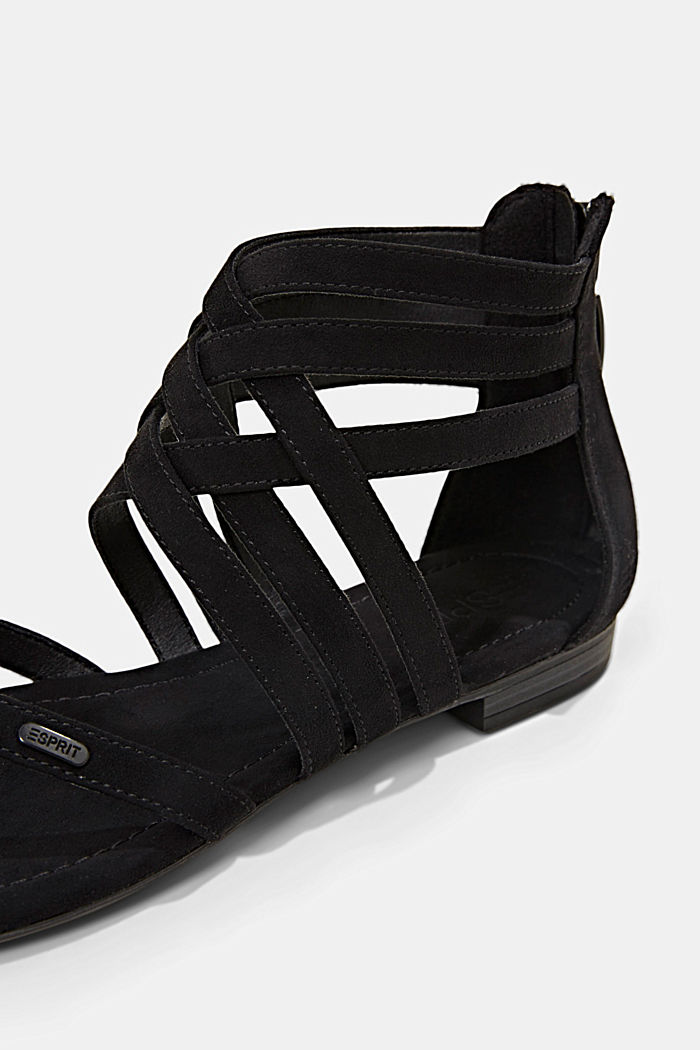 Strappy sandals made of faux suede, BLACK, detail image number 4