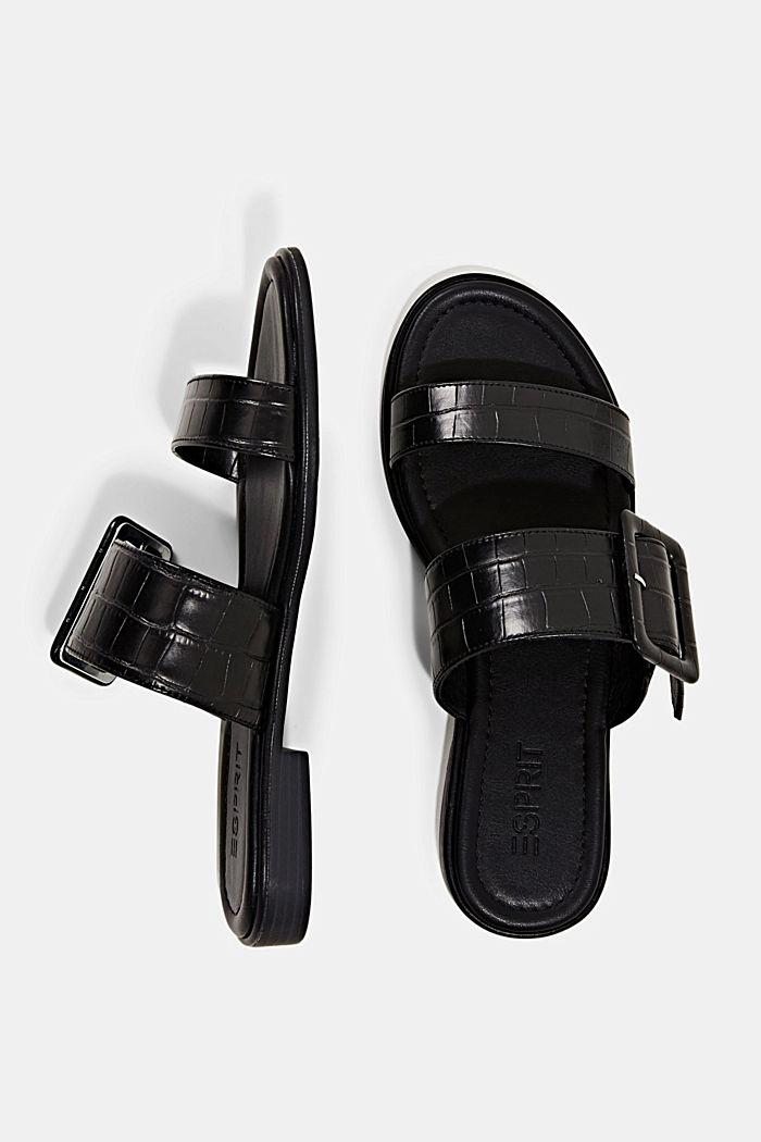 Sandalias con hebillas y grabado de cocodrilo, BLACK, detail image number 1