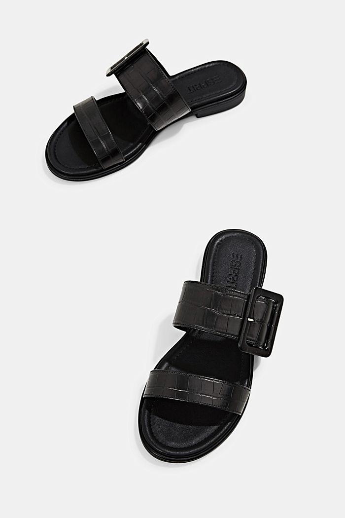 Sandalias con hebillas y grabado de cocodrilo, BLACK, detail image number 5