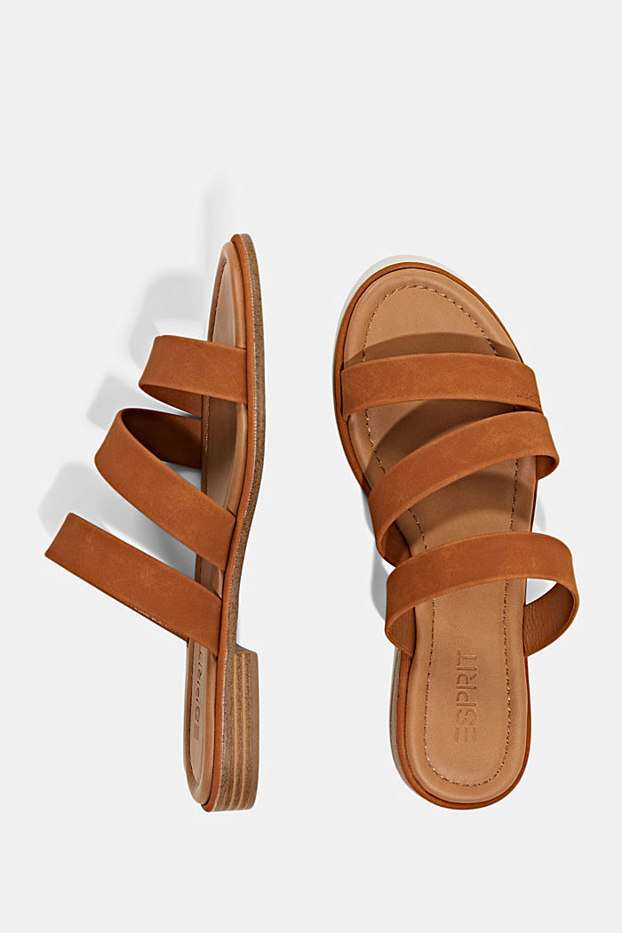 Mules with faux leather straps, CARAMEL, detail image number 1