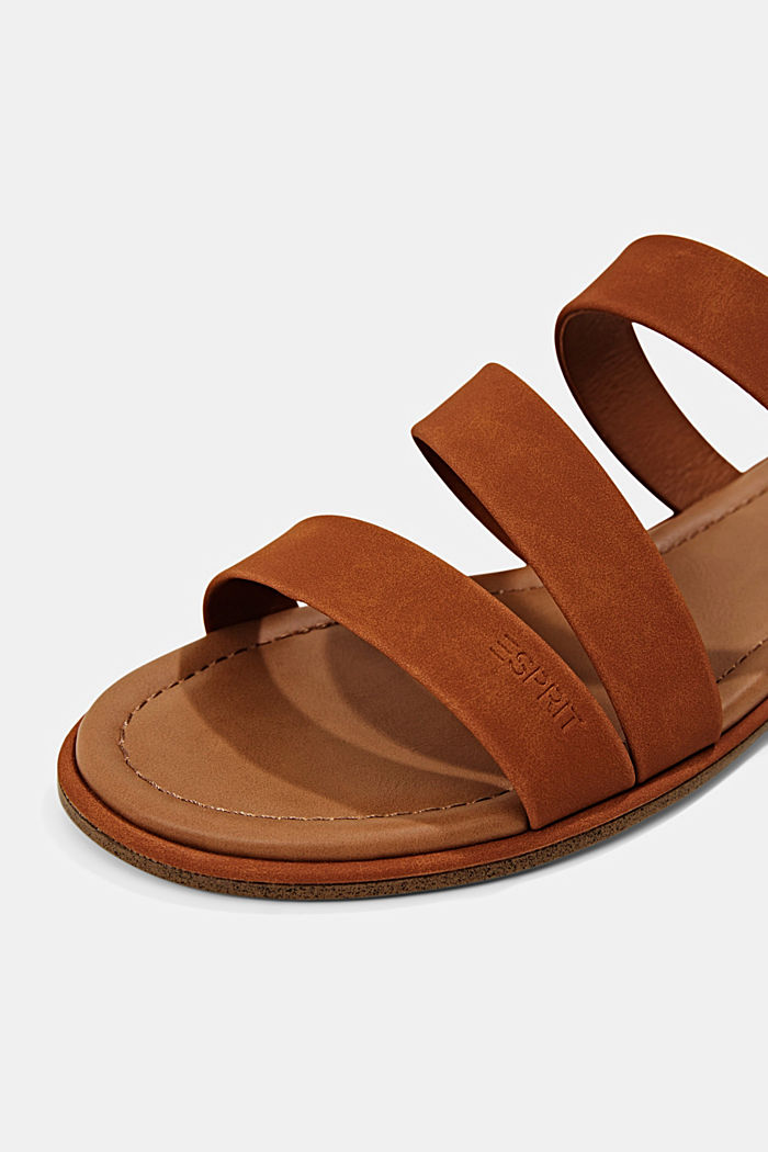 Mules with faux leather straps, CARAMEL, detail image number 3