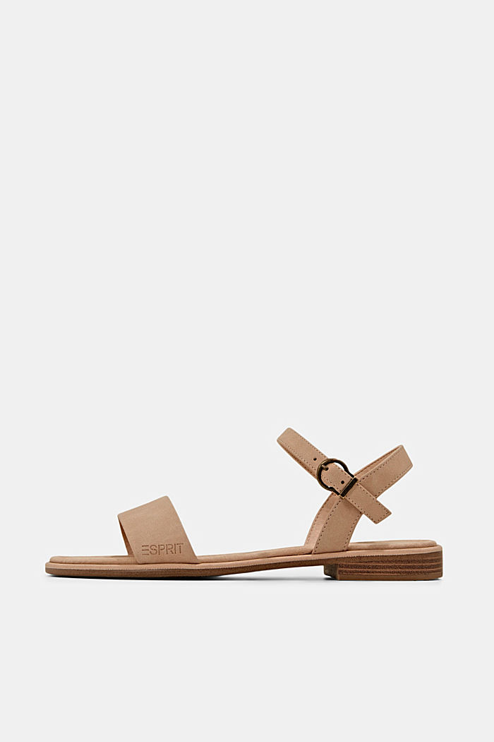 Flat faux leather sandals