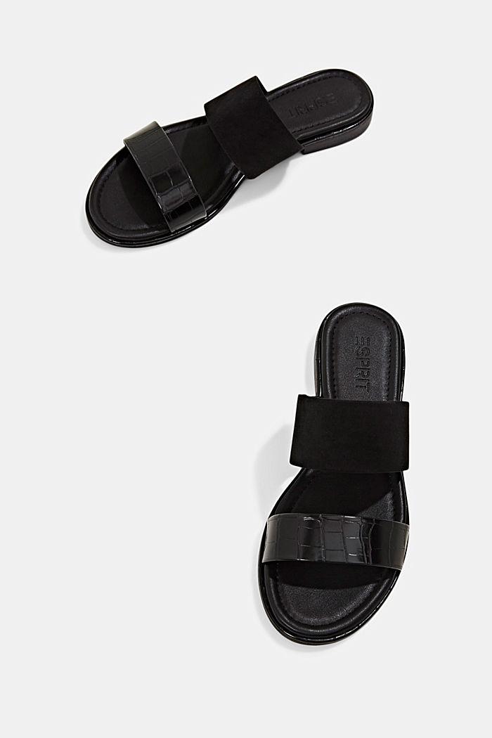 Pantoflíčky ze směsi materiálů, BLACK, detail image number 5