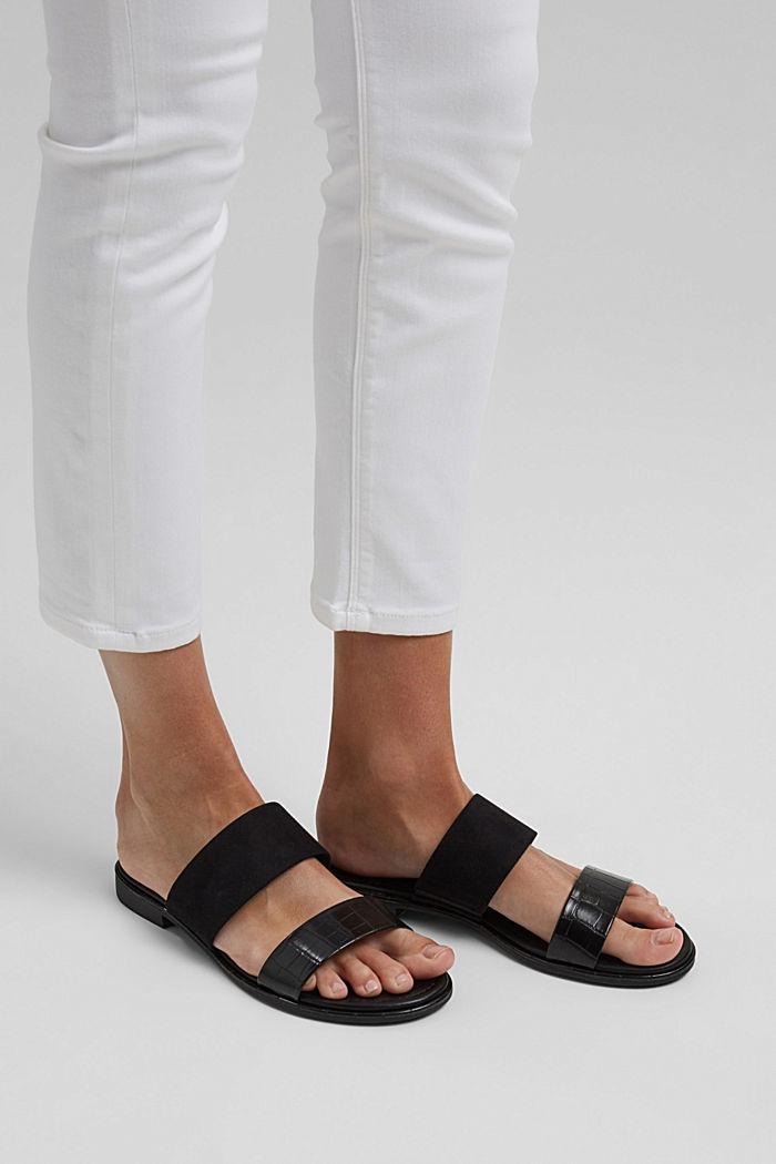 Pantoflíčky ze směsi materiálů, BLACK, detail image number 3