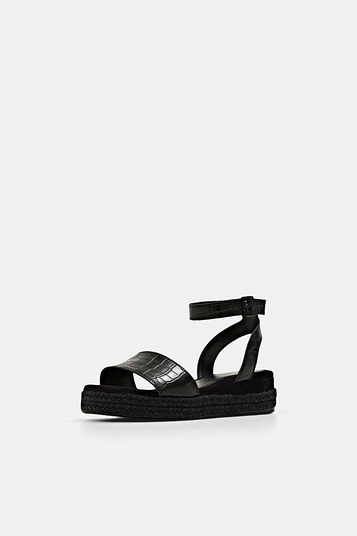 Sandály s lýkovou podešví a platformou, BLACK, detail image number 2