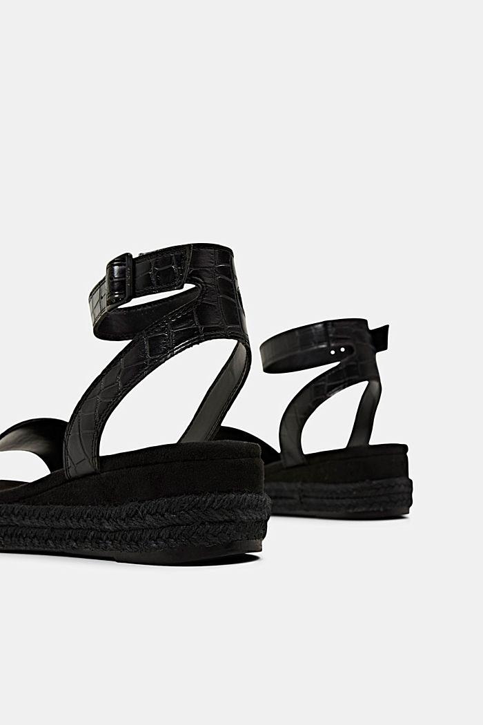 Sandály s lýkovou podešví a platformou, BLACK, detail image number 4