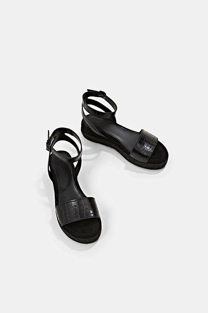 Sandály s lýkovou podešví a platformou, BLACK, detail image number 5