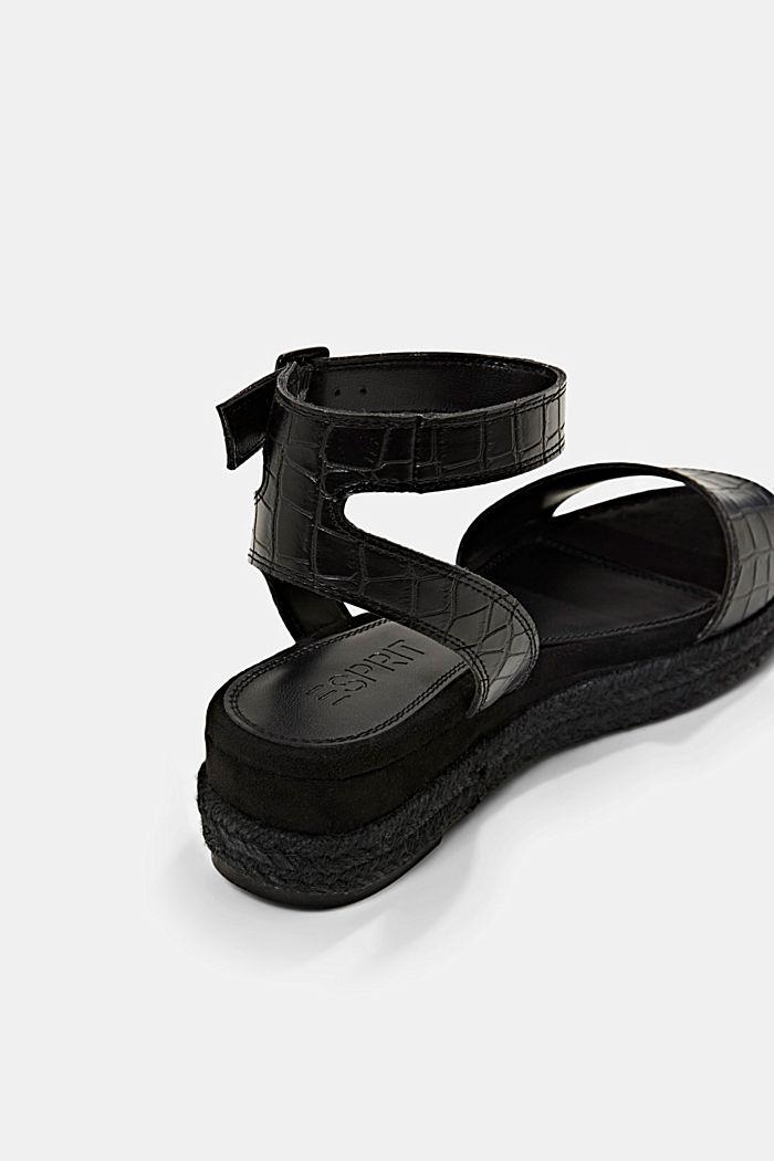Sandály s lýkovou podešví a platformou, BLACK, detail image number 3