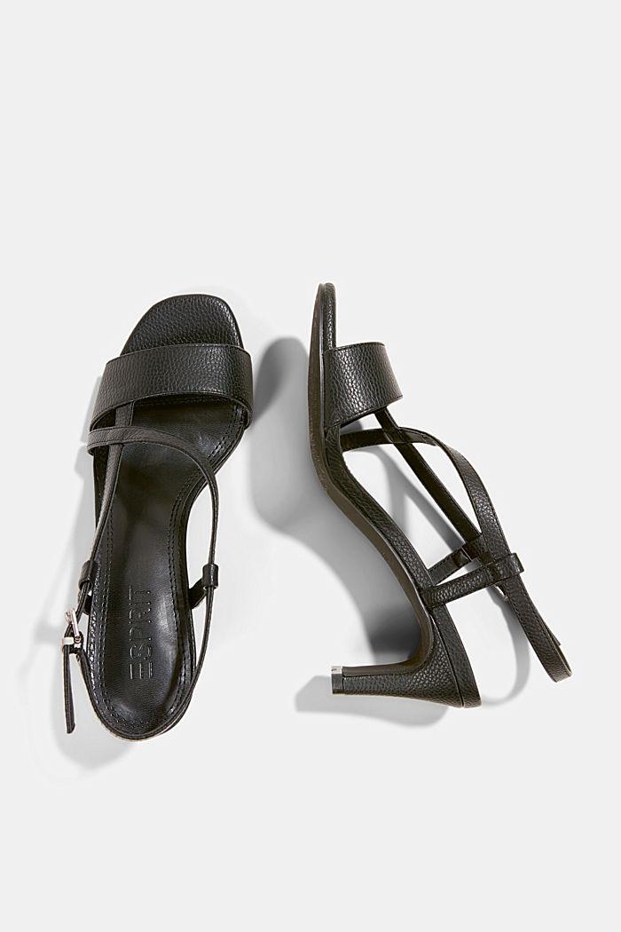 Vegan: Riemchen-Sandalette in Lederoptik, BLACK, detail image number 1