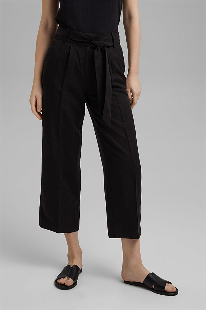 Linen blend: culottes with a tie-around belt, BLACK, detail image number 0