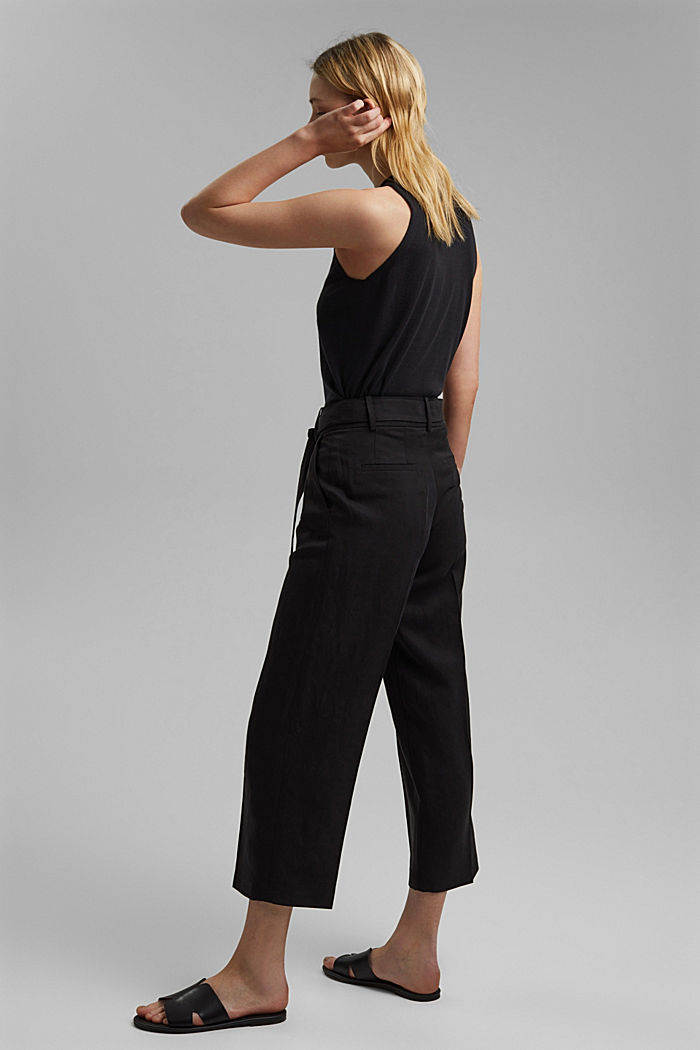 Linen blend: culottes with a tie-around belt, BLACK, detail image number 3