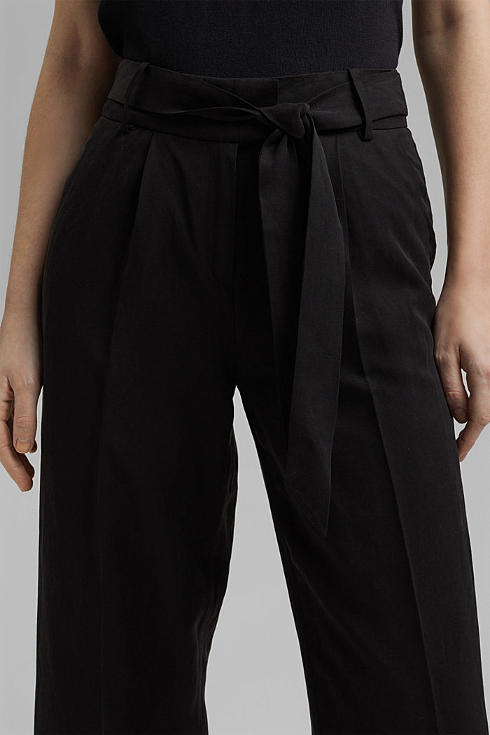 Linen blend: culottes with a tie-around belt, BLACK, detail image number 2
