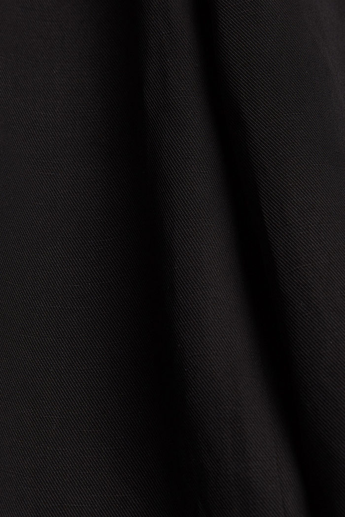 Linen blend: culottes with a tie-around belt, BLACK, detail image number 4