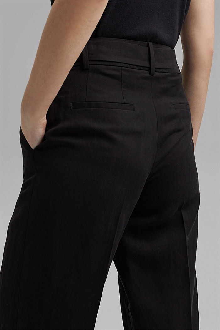 Linen blend: culottes with a tie-around belt, BLACK, detail image number 5
