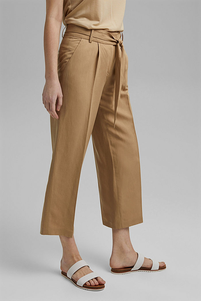 Linen blend: culottes with a tie-around belt, SAND, detail image number 0