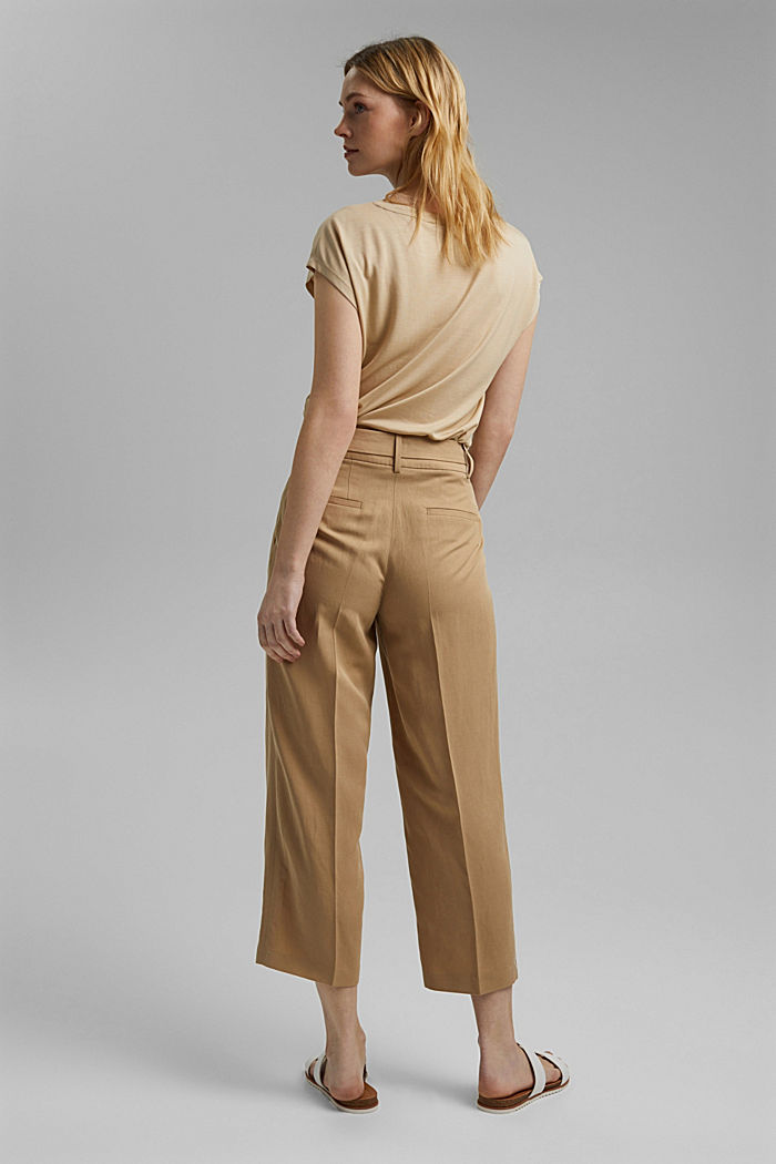 Linen blend: culottes with a tie-around belt, SAND, detail image number 3