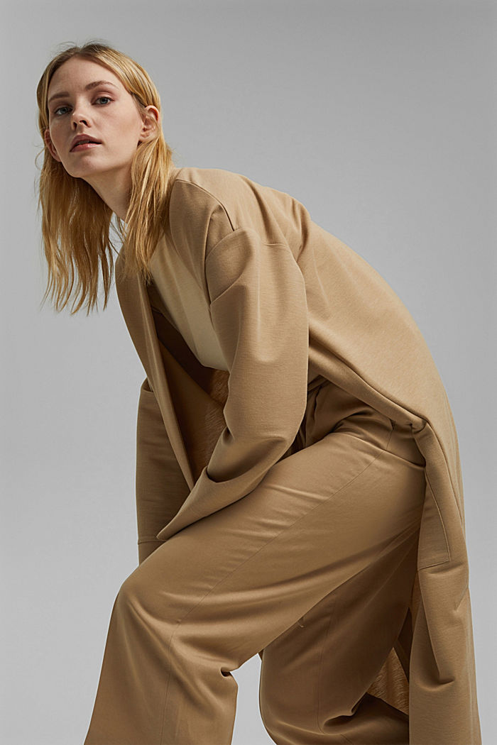 Linen blend: culottes with a tie-around belt, SAND, detail image number 6