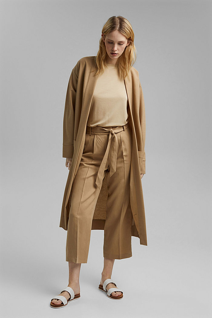 Linen blend: culottes with a tie-around belt, SAND, detail image number 1