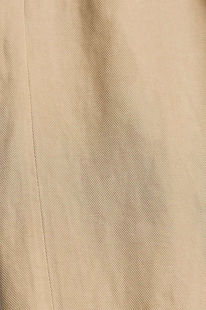 Linen blend: culottes with a tie-around belt, SAND, detail image number 4