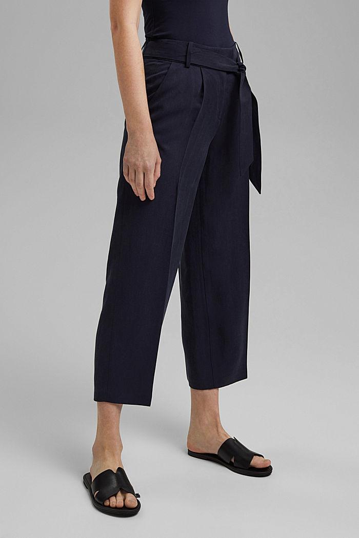 Met linnen: culotte met strikceintuur, NAVY, detail image number 0