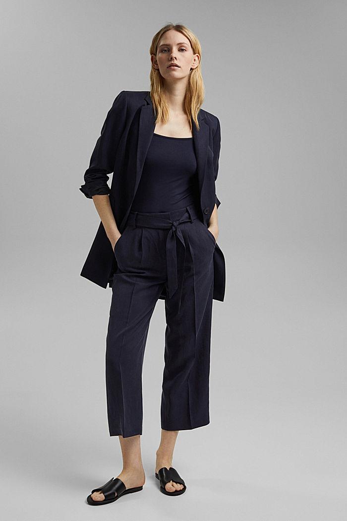 Met linnen: culotte met strikceintuur, NAVY, detail image number 1