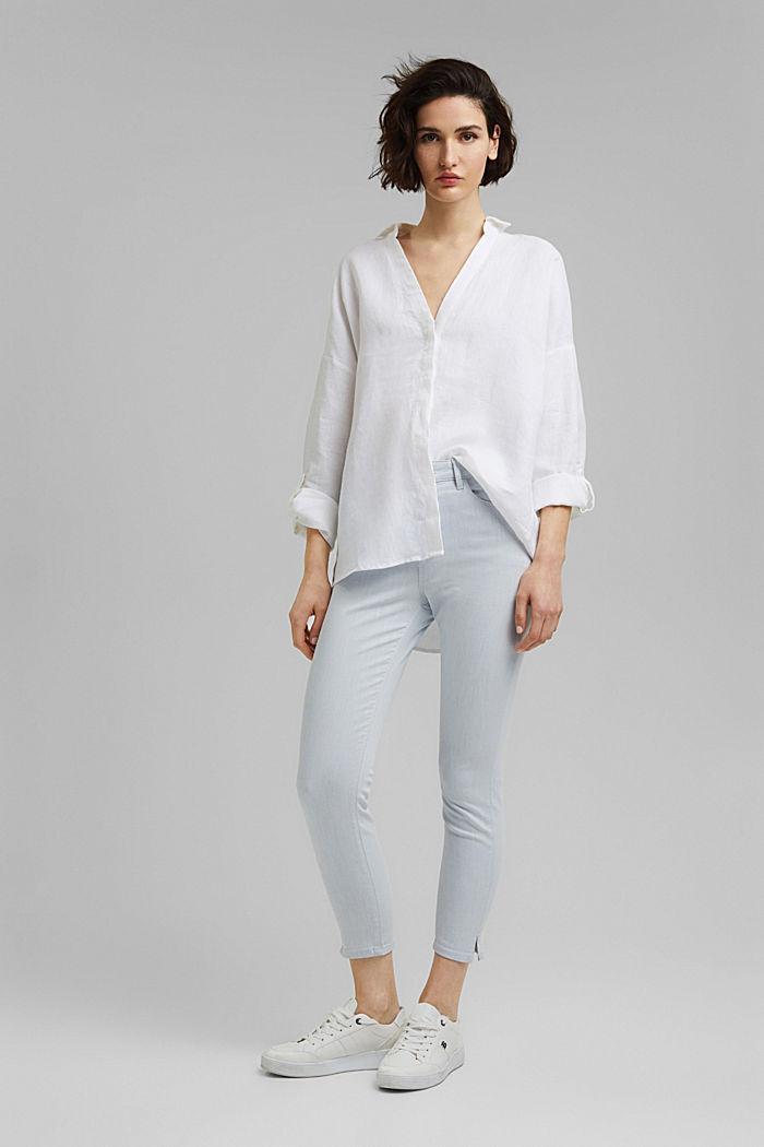 Knöchellange Jeans aus bleached Denim, BLUE BLEACHED, detail image number 1