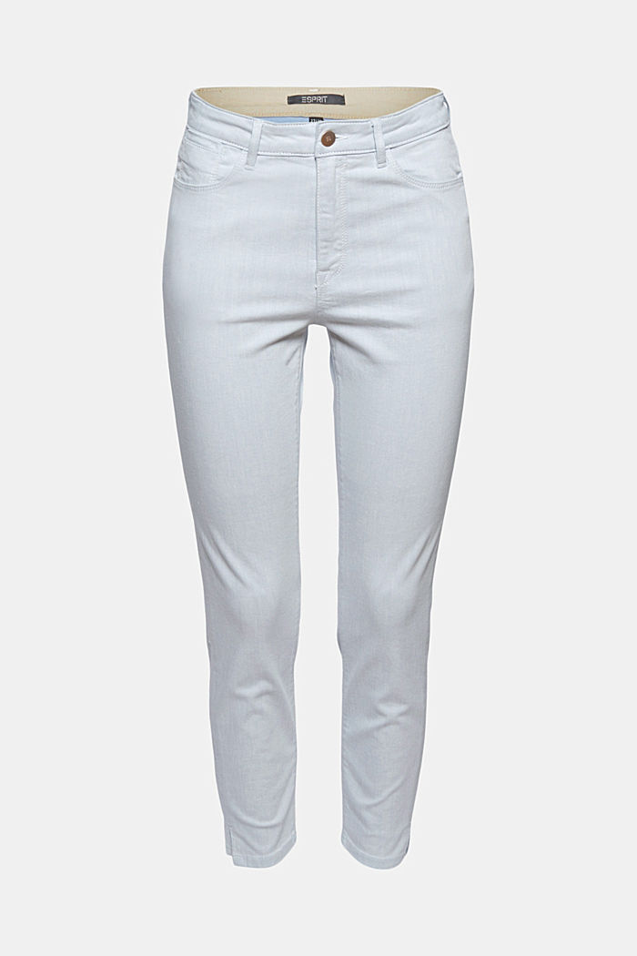 Ankle-length jeans made of bleached denim