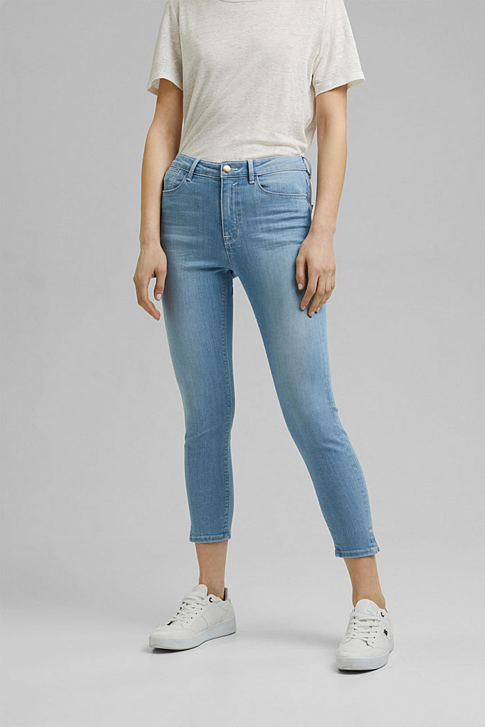 Recycled: cropped stretch jeans, organic cotton