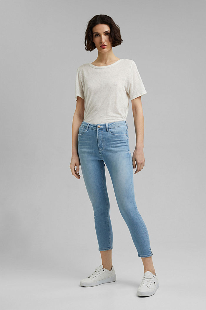 Gerecycled: cropped stretchjeans, biologisch katoen, BLUE LIGHT WASHED, detail image number 1