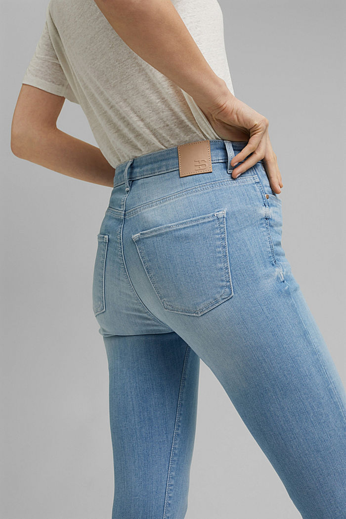 Gerecycled: cropped stretchjeans, biologisch katoen, BLUE LIGHT WASHED, detail image number 2