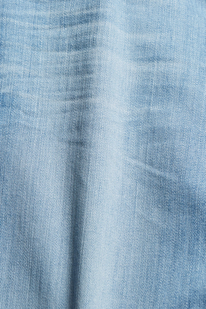 Gerecycled: cropped stretchjeans, biologisch katoen, BLUE LIGHT WASHED, detail image number 4