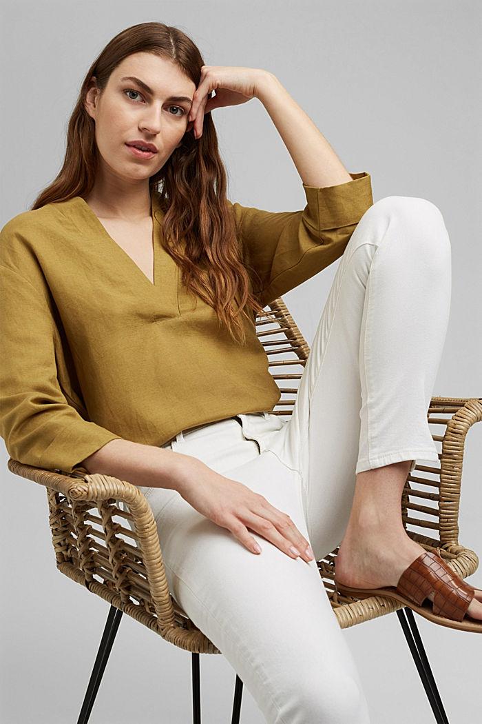 Stretch-Jeans mit Schlitzen, Organic Cotton