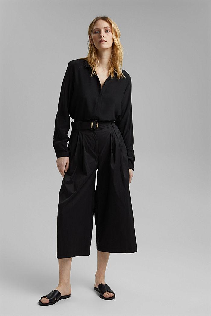Jupe-culotte en coton mélangé, BLACK, detail image number 6