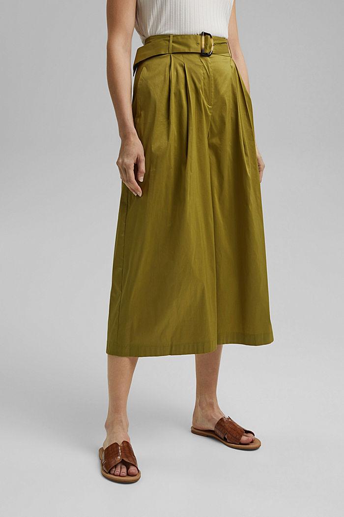 Jupe-culotte en coton mélangé, OLIVE, detail image number 0