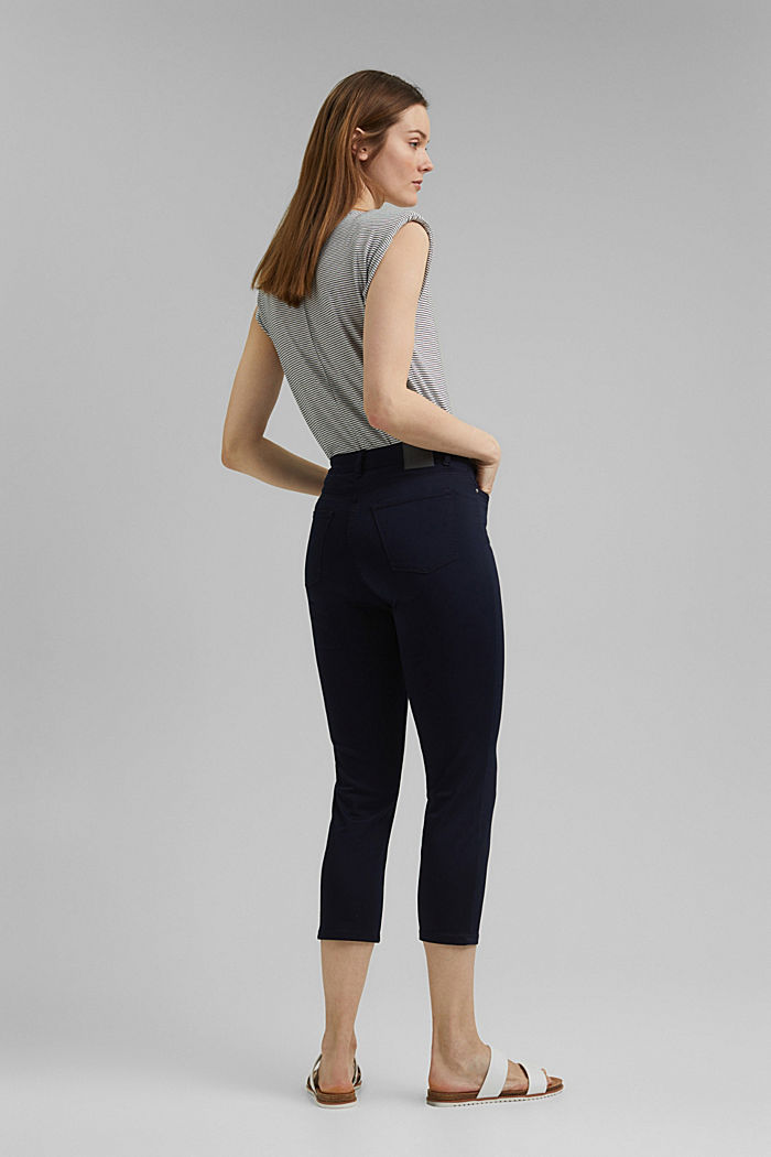 Super stretch capri trousers, NAVY, detail image number 3