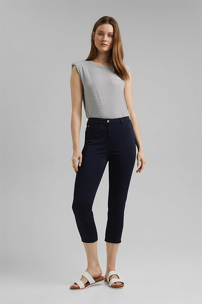 Super stretch capri trousers, NAVY, detail image number 1