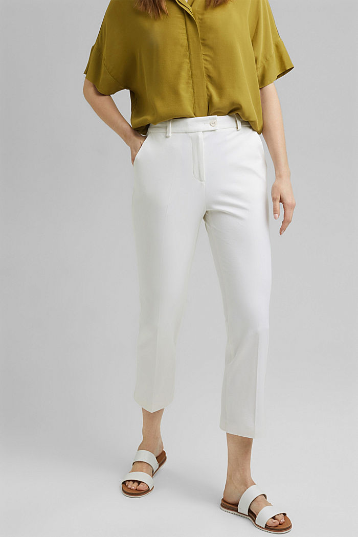 Cropped kick flare trousers, WHITE, detail image number 0