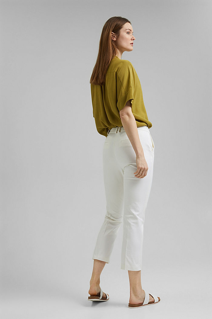 Cropped kick flare trousers, WHITE, detail image number 3