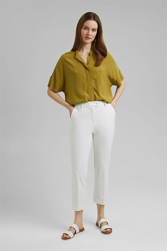 Cropped kick flare trousers, WHITE, detail image number 6