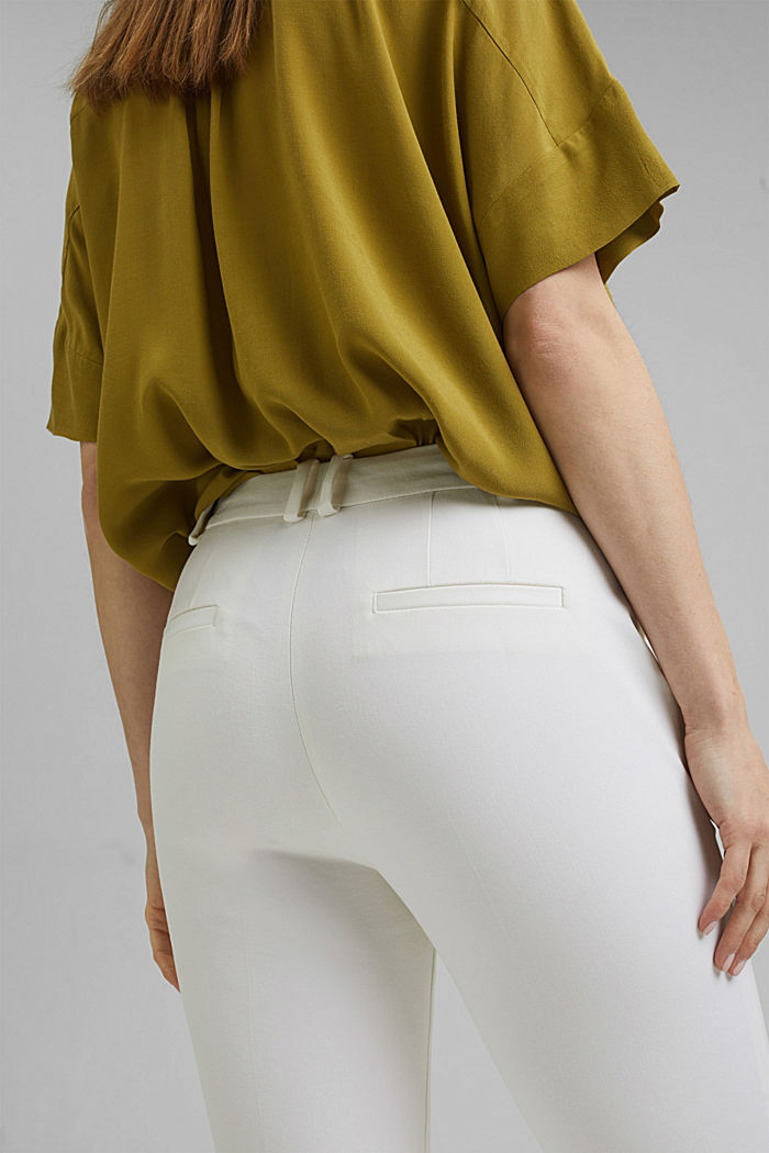 Cropped kick flare trousers, WHITE, detail image number 5