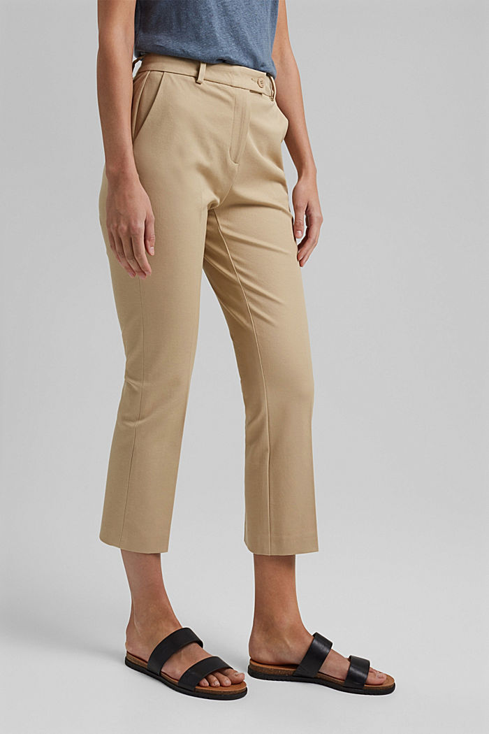 Cropped kick flare trousers, SAND, detail image number 0