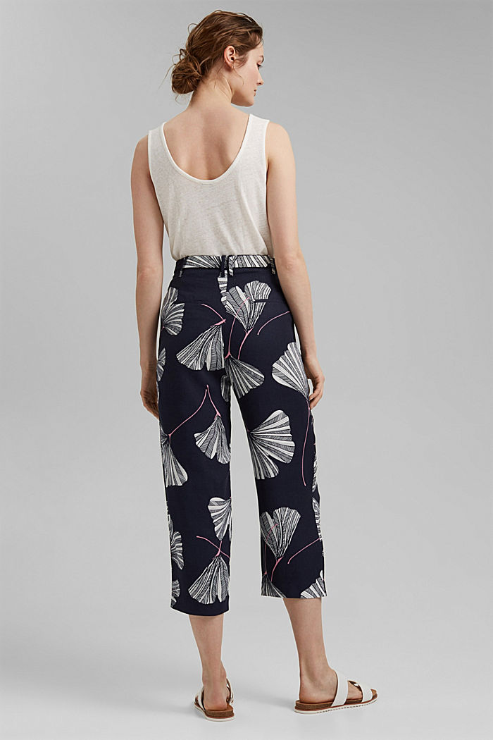 Cropped trousers with print and belt, NAVY, detail image number 3