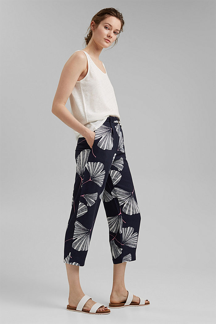 Cropped trousers with print and belt, NAVY, detail image number 1
