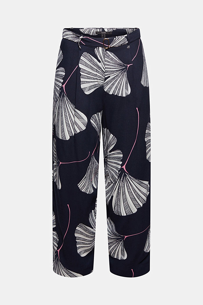 Cropped trousers with print and belt