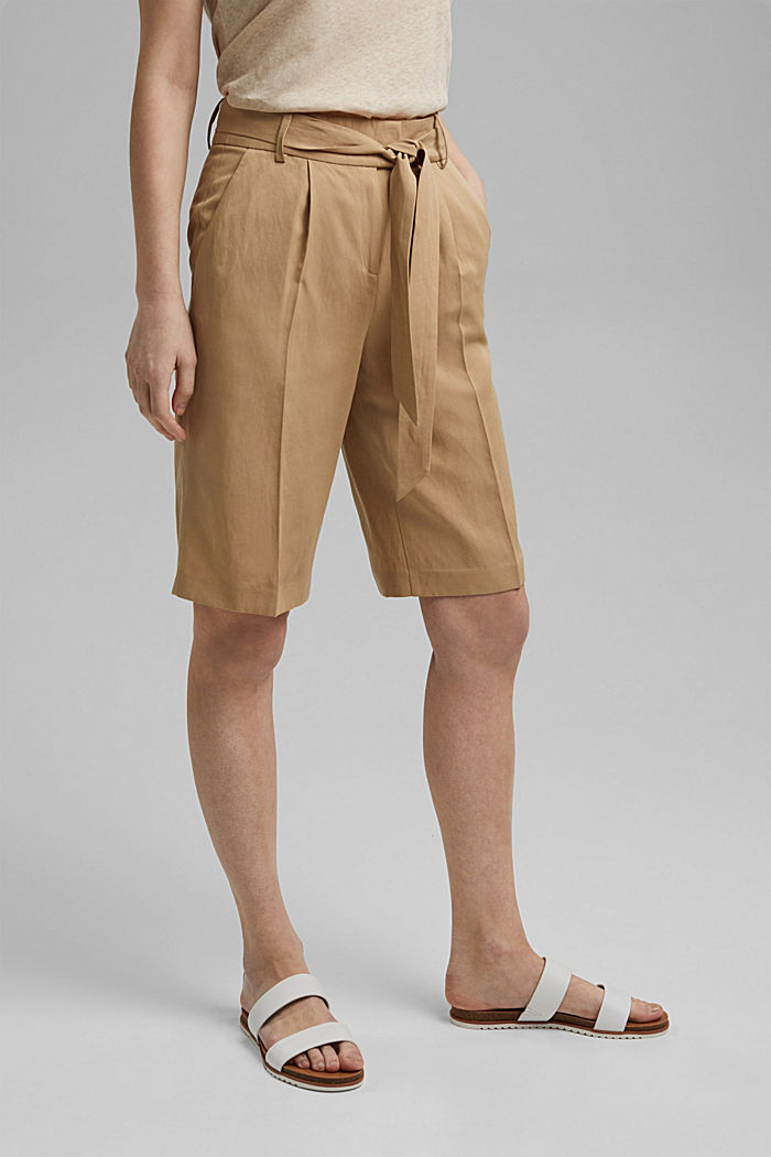 Linen blend: Bermuda shorts with a tie-around belt, SAND, detail image number 0