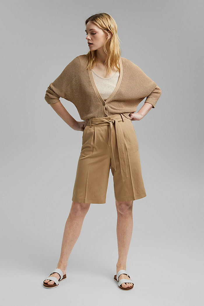Linen blend: Bermuda shorts with a tie-around belt, SAND, detail image number 1
