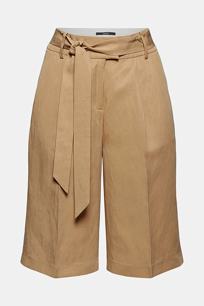 Linen blend: Bermuda shorts with a tie-around belt, SAND, detail image number 7
