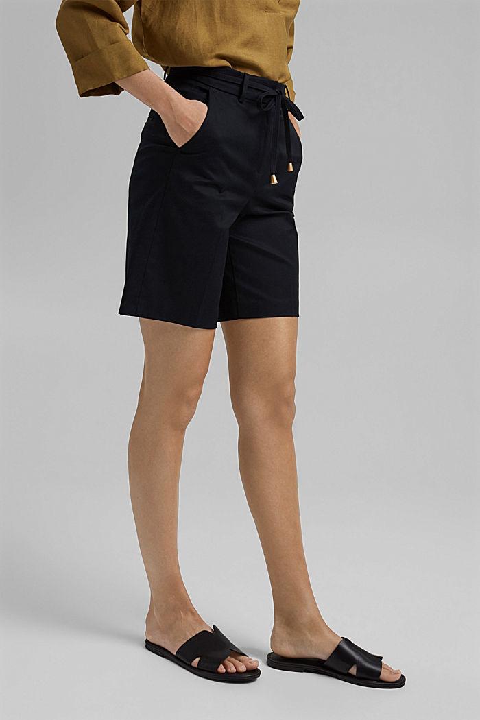 Prémiové šortky z kepru, s opaskem, BLACK, detail image number 0