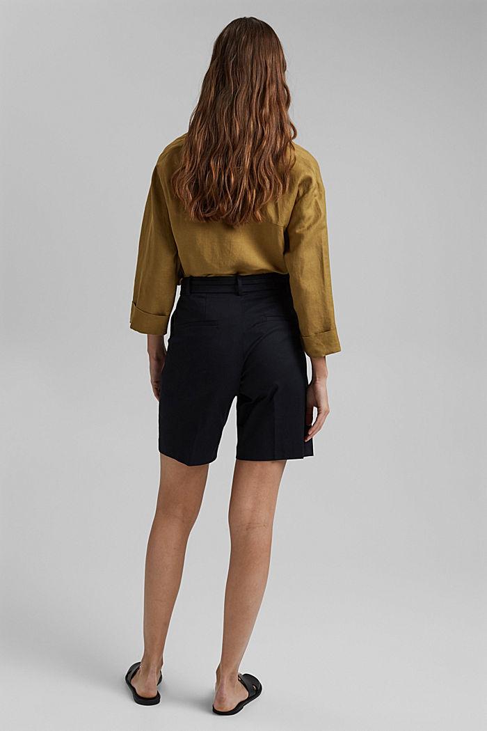 Prémiové šortky z kepru, s opaskem, BLACK, detail image number 3
